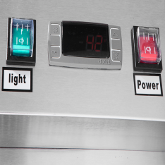 Refrigerador vertical de 43.1 pies³ con 2 puertas de cristal MCF8605GR